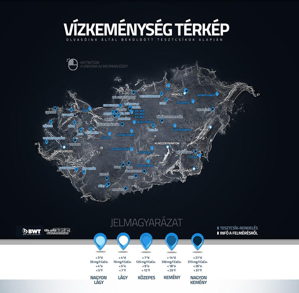 Vízkeménység térképünket  a cikk alján található link segítségével találhatjátok meg